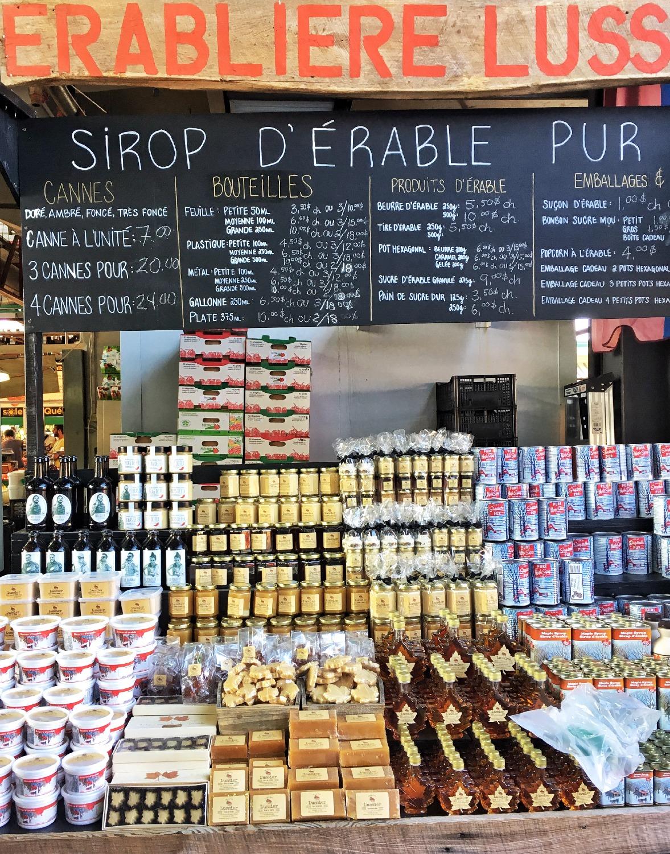 Sirop d'érable au marché Jean Talon
